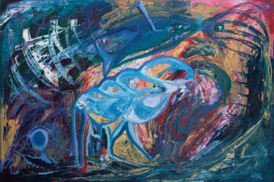 Die Muschel oder Spatz/60 x 90 cm/Öl auf Holz/1999/€ 500